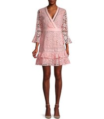 floral lace-design tunic dress