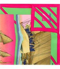 hermès 1990s pre-owned carre rafales print scarf - pink