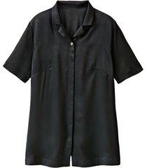 blouse met reverskraag, uit biologische zijde, zwart 50
