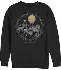fifth sun men's deathly hallows 2 hogwarts line art crew fleece pullover t-shirt