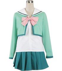 zeromart green cotton pink bow sailor pleated skirt japan school uniform cosplay
