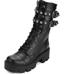 botas casuales de moda caña media suela plana gruesa  tendencia y moda 2020 anuwa ivanna black