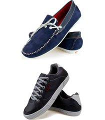 2 pares casual de mocassim leve com sapatênis sapatofranca azul e preto
