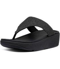 fitflop women's imogen basket weave toe-thong wedge sandal women's shoes