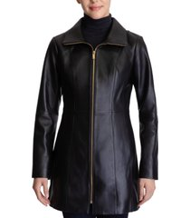 anne klein petite stand-collar leather coat