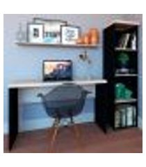 conjunto de mesa com estante e prateleira de escritório corp preto e geneve
