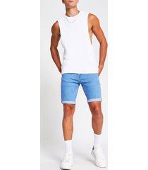 river island mens blue sid skinny fit denim shorts