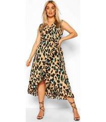 plus luipaardprint midi wikkel jurk met ruches, bruin