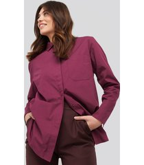 na-kd classic oversized poplin shirt - red