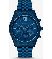 mk orologio lexington oversize in alluminio tonalità navy - navy (blu) - michael kors