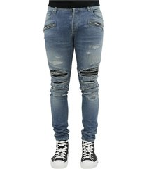 ribbed patches slim jeans-dest