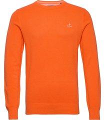 cotton pique c-neck gebreide trui met ronde kraag oranje gant