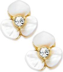 kate spade new york earrings, gold-tone cream disco pansy flower stud earrings