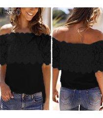 zanzea verano de las mujeres del partido del club de playa del hombro de la blusa del cordón del ganchillo tee tapa de la camiseta -negro
