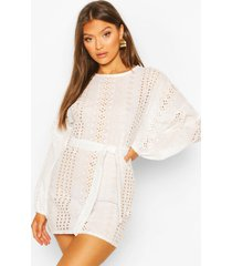 broiderie anglais balloon sleeve belted shift dress, white