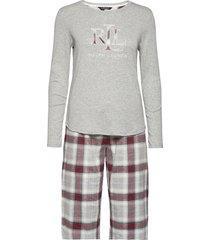 lrl knit top long pant pj folded pyjama grijs lauren ralph lauren homewear
