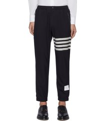 snap button hem four bar stripe wool track pants