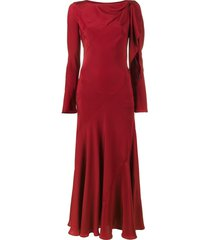 olivier theyskens full length dress with cut-out detailing - red
