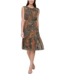 tommy hilfiger flounce-hem paisley dress