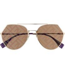 women's fendi eyeline 55mm sunglasses - gold/ decor gold