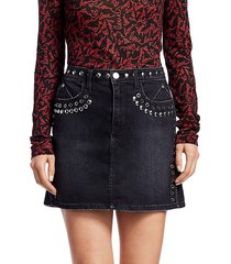 joe's jeans women's grommet & stud denim mini skirt - luminary stud - size 24 (0)