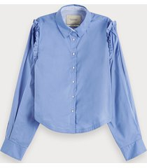 scotch & soda cropped blouse met ruchedetails