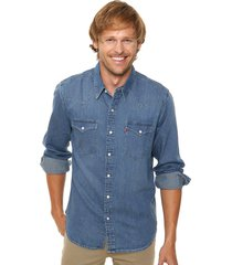 camisa azul levi's classic western - dark wash