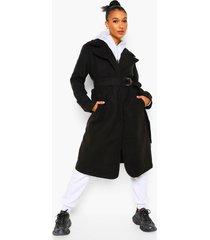 nepwollen trench coat met ceintuur, black