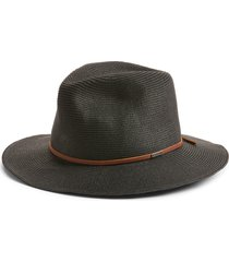brixton wesley packable straw fedora, size x-large in black/brown at nordstrom
