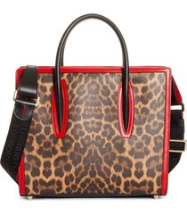 christian louboutin medium paloma leopard print leather tote - (nordstrom exclusive)