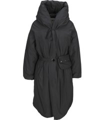 add hooded down coat with beltbag