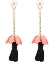 aretes rosa con negrosasmon ar-11103