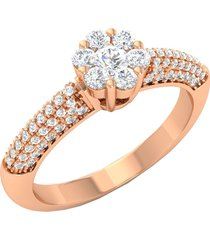 0.70ct rose gold finish simulated diamond solitiaie with accents engagement ring