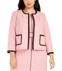nine west plus size crepe jewel-neck jacket