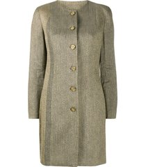 gianfranco ferré pre-owned 1990s collarless thigh-length coat -