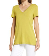 halogen(r) v-neck tunic t-shirt, size xx-small in olive oasis at nordstrom