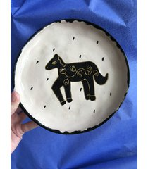 ceramiczny talerz koń złote kwiaty