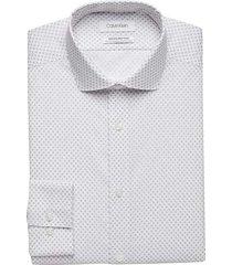calvin klein men's infinite non-iron gray diamond print slim fit dress shirt - size: 20 34/35