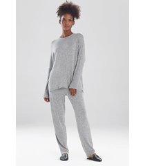natori ulla long sleeve top pajamas, women's, grey, size m natori