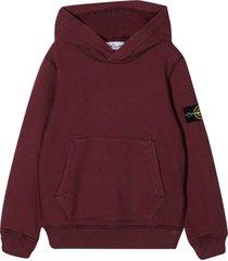 stone island junior red sweatshirt