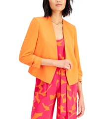 bar iii ruched-sleeve open-front blazer, created for macy's