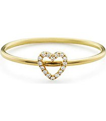 diamond 18k yellow gold heart charm ring