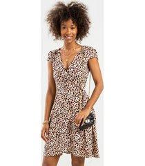 bec leopard wrap mini dress - brown