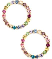 colorful crystal embellished circle earring