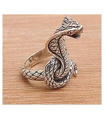 sterling silver cocktail ring, 'flaring cobra' (indonesia)