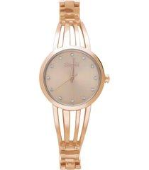 paris 3h orologio in acciaio rose gold con quadrante rose gold con strass e bracciale semirigido per donna