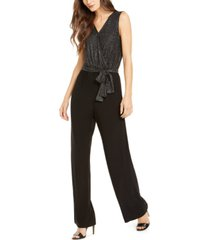 ny collection petite sleeveless glitter jumpsuit