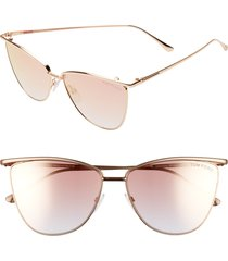 women's tom ford veronica 58mm gradient mirrored cat eye sunglasses - gold/ gradient peach