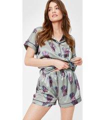 womens satin elephant print pajama shirt and shorts set - sage