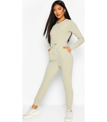 ribbed tie waist long sleeve jumpsuit, sage